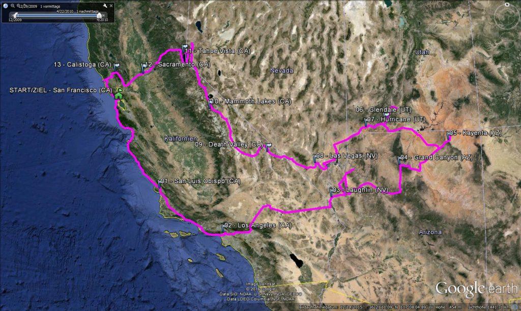 Bild: Route der USA-Rundreise 2010 - Reiseblog von Frank Seidel