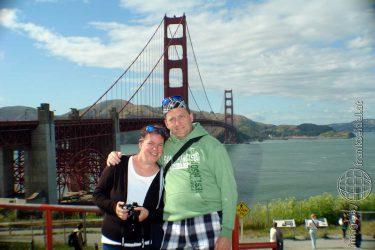 Bild: Frank Seidel und Christine Schirk vor der Golden Gate Bridge, San Francisco - Reiseblog von Frank Seidel