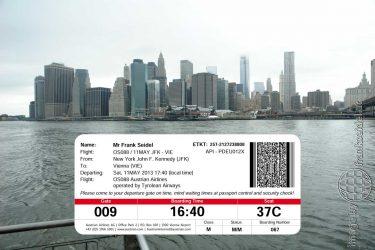 Bild: Bordkarte Flug von New York City nach Wien - Reiseblog von Frank Seidel