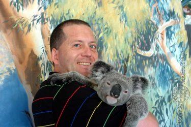 Bild: Frank SEidel mit einem Koala in Kuranda, Australien - Reiseblog von Frank Seidel