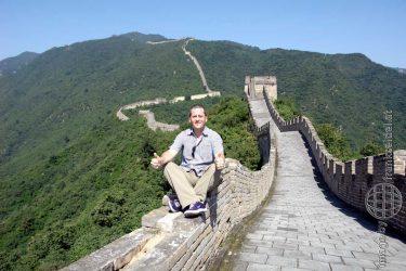 Bild: Frank Seidel auf der Chinesischen Mauer bei Mutianyu, China - Reiseblog von Frank Seidel